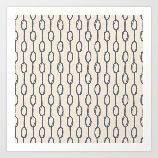 Pebble Dot Stripes Gray on Rose Petal Cream Art Print