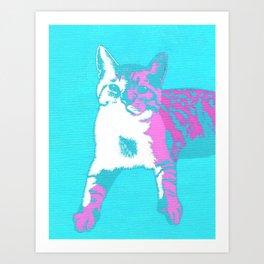 Two Toned Neon Cat Art Print