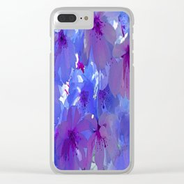 Blue Cherry Blossoms Clear iPhone Case