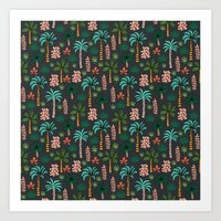 Tropics palm trees pattern print summer tropical vacation design by andrea lauren Art Print