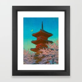 Vintage Japanese Woodblock Print Pastel Colors Blue pink Teal Shinto Shrine Cherry Blossom Tree Framed Art Print