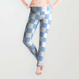 White and Baby Blue Checkerboard Leggings