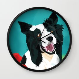 Border Collie And Poppies Wall Clock