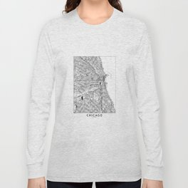 Chicago White Map Long Sleeve T-shirt