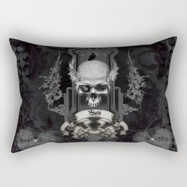 Awesome skull with crow, black and white Rectangular Pillow