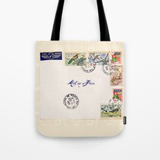 French Postage, meet me in Paris Tote Bag