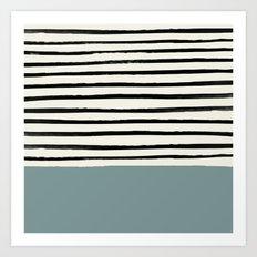 River Stone & Stripes Art Print