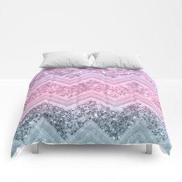 Unicorn Glitter Chevron #1 #pastel #shiny #decor #art #society6 Comforters
