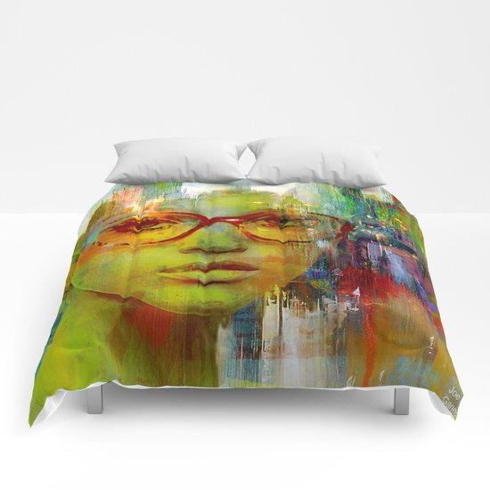 red glasses girl Comforters