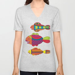 Stylize fantasy fishes under water. Unisex V-Neck