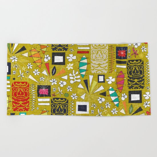 tiki yellow Beach Towel
