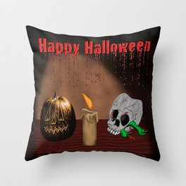 Happy Halloween Skull And Jack O'Lantern Throw Pillow