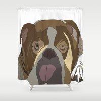 bulldog Shower Curtains featuring Bulldog by Design4u Studio