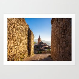 Church of Santa María de la Meza in Zahara de la Sierra in Spain Art Print