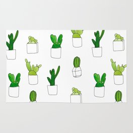Friendly family of succulents Rug
