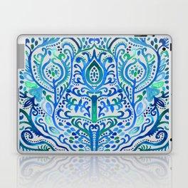 Sapphire and Emerald Watercolor Tulip Damask Laptop & iPad Skin