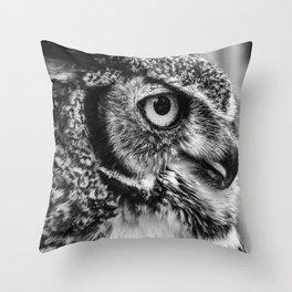 Bird Photography | Owl Black and White Minimalism | Wildlife | By Magda Opoka Throw Pillow