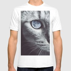 Moon cat White Mens Fitted Tee MEDIUM