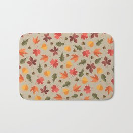 Autumn Leaves Pattern Beige Background Bath Mat
