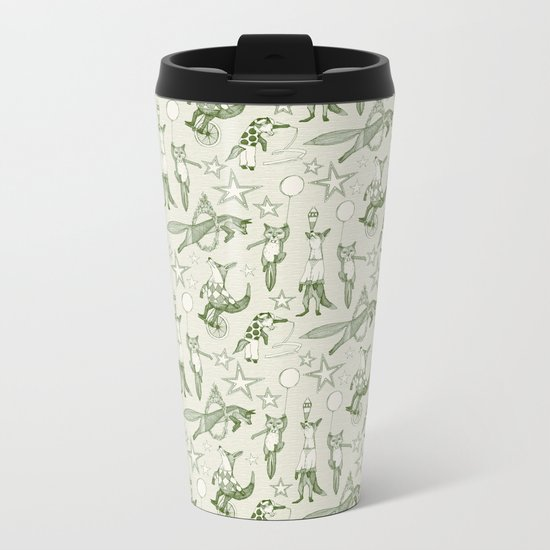 foxy circus green ivory Metal Travel Mug