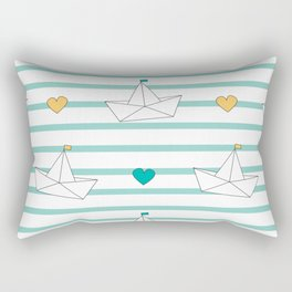 cute cartoon paper boats seamless pattern background illustration Rectangular Pillow