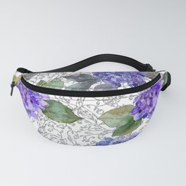 Blue Hydrangeas and Leaves on Ornamental Background I Fanny Pack