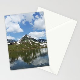 Panorama mountain landscape lake, mountains and clouds in blue sky on sunny day Stationery Cards