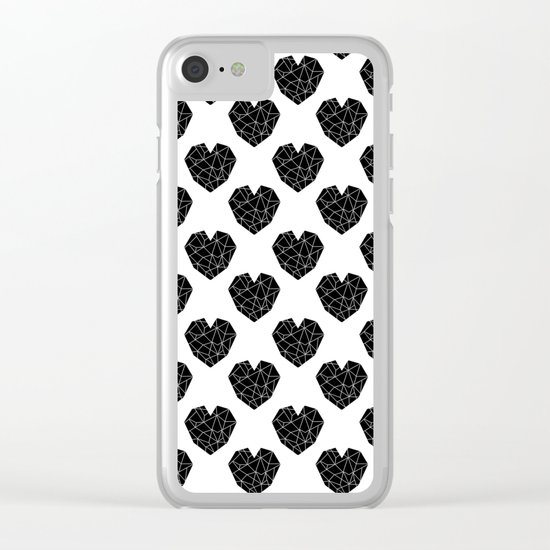 Hearts black and white geometric minimal basic simple design pattern valentines day Clear iPhone Case