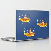 yellow submarine Laptop & iPad Skins featuring Fabric Yellow Submarine by AnnaCas