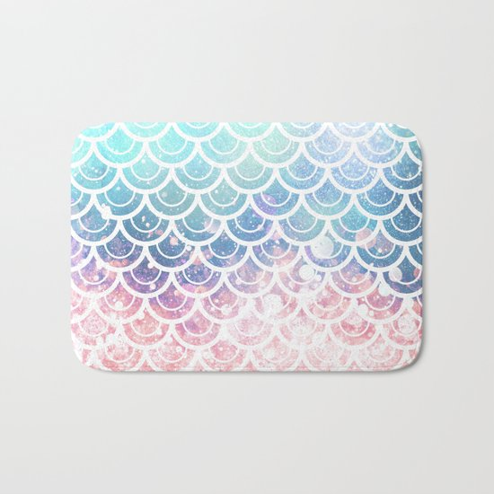 Mermaid Scales Turquoise Pink Sunset Bath Mat