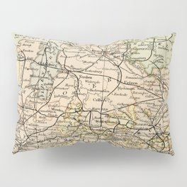 Old and Vintage Map of Germany Outline Pillow Sham
