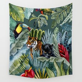 Jungle with tiger and tucan Wall Tapestry