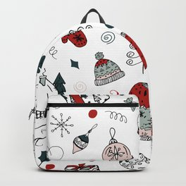 Christmas holiday pattern, winter hand drawing background. Backpack