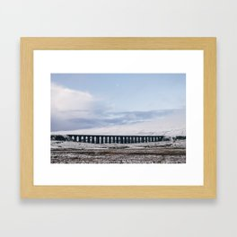 Snow and Moon over the Ribblehead Viaduct. Settle to Carlisle Railway, North Yorkshire, UK. Framed Art Print