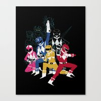 power rangers Canvas Prints featuring power glove rangers by Louis Roskosch