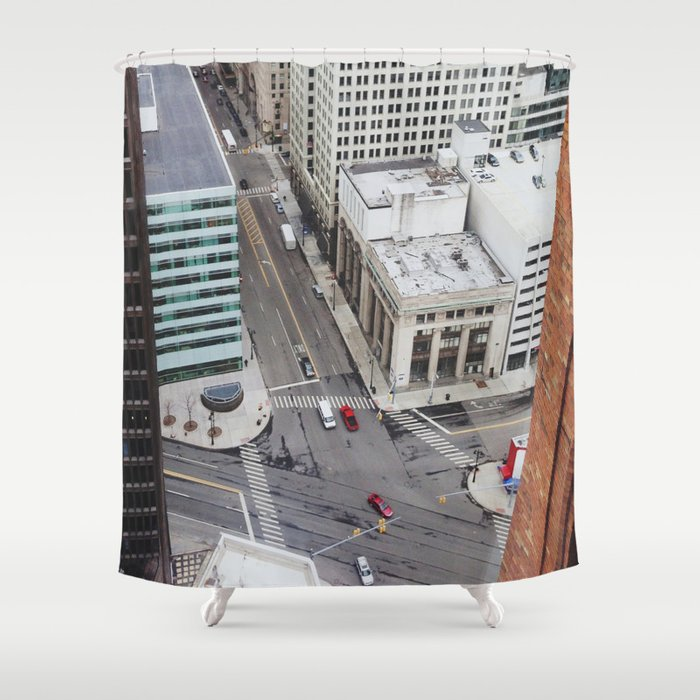 Michigan Ave & Griswold - Detroit, MI Shower Curtain