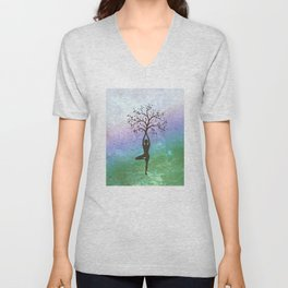 Yoga Tree Pose Unisex V-Neck