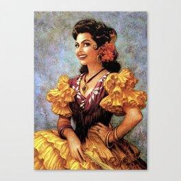 Mexican Golden Flamenco Calendar Girl by Jesus Helguera Canvas Print