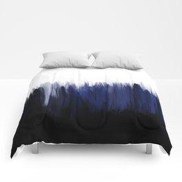 Modern blue cobalt black oil paint brushstrokes abstract Comforters