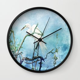 Rookery White Egret Wall Clock