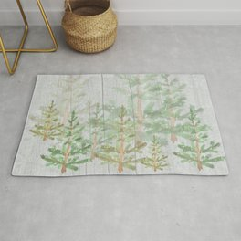 Pine forest on weathered wood Rug