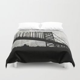 News Feed , Newspaper Bridge Collage, night silhouette cityscape news paper cutout, black and white  Duvet Cover