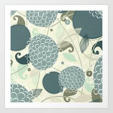 Abstract Floral Blue by Friztin Art Print