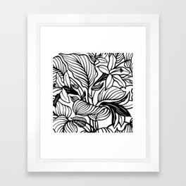 White Black Floral Minimalist Framed Art Print