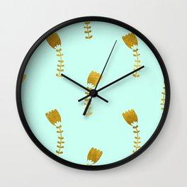 Mint Gold Foil 03 Wall Clock