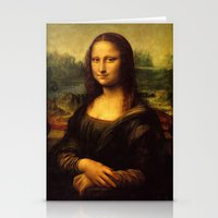 mona lisa Stationery Cards featuring Mona Lisa by Elegant Chaos Gallery