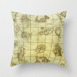 Here Be Monsters Map Throw Pillow