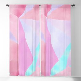 Geometrical Pink Lilac Teal Watercolor Hand Painted Pattern Blackout Curtain