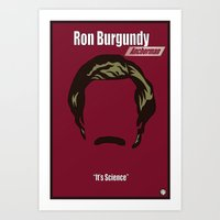 anchorman Art Prints featuring Ron Burgundy: Anchorman by BC Arts