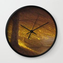 Sunburst through the Autumn Trees by the River landscape by H. Joiner Wall Clock